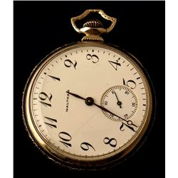 Open Face Stainless Steel Waltham Pocket Watch