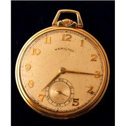 Vintage Hamilton 12S Gold Pocket Watch