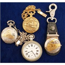 3 Pocket Watches w/ Trains Engraved on Front