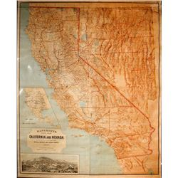 Bancroft's New Map of California and Nevada WITH Virginia City insert