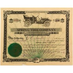 Spring Tire Company Stock Certificate
