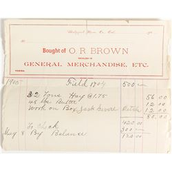 O.R. Brown General Merchandise Billhead, Mono County