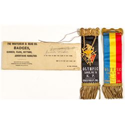 Knights of Pythias Ribbon in Original Envelope, Grass Valley, California