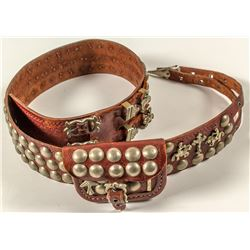 Leather and Brass Cobblestone Belt with Purse