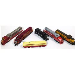 HO Diesel Engines with street car, steam locomotive