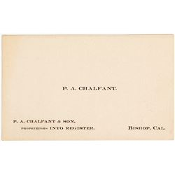 P. A. Chalfant Business Card, Inyo County