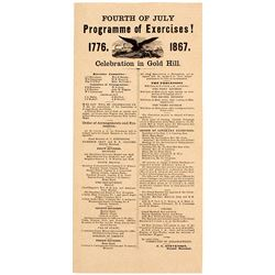 1867 Fourth of July Program on the Comstock