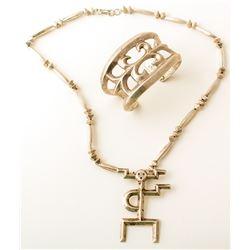 Vintage Sandcast Yei Necklace and Bracelet