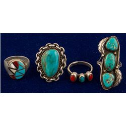 Four Turquoise/Coral Rings