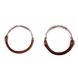 Chinese Rattan & Sterling Silver Bangle Bracelets