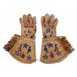 Sioux Pictorial Beaded Gauntlet Gloves 19th C.