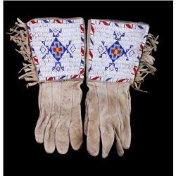Lakota Sioux Beaded Gauntlet Gloves circa 1890