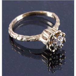 1940's 14K Gold and Diamond Lotus Ring