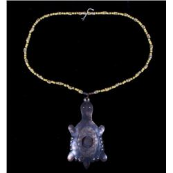 Hudson Bay Copper Turtle Effigy on Bead Necklace