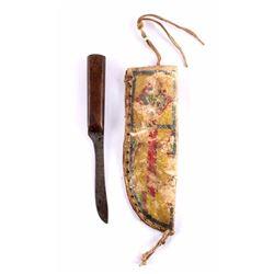 Early Plains Parfleche Sheath & Knife 19th Century