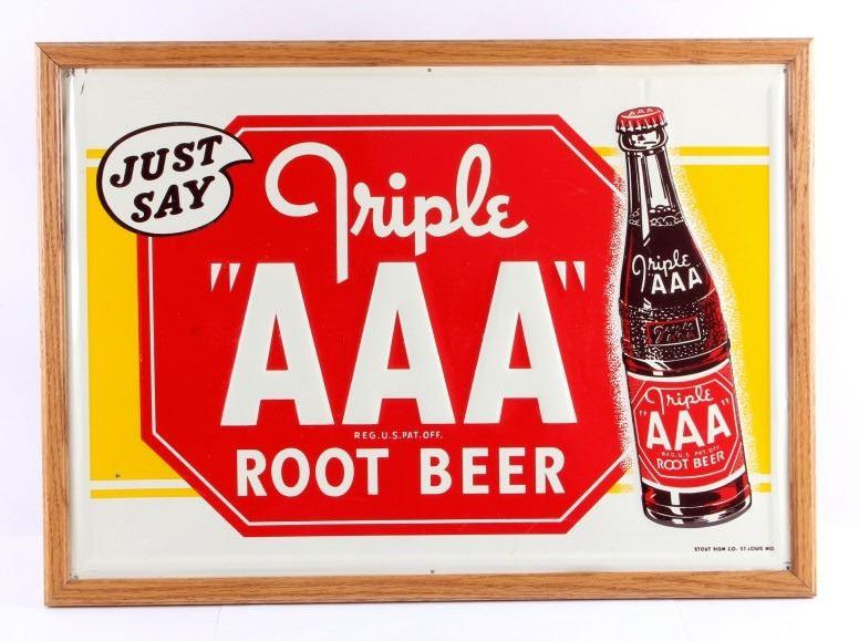 Triple Aaa Number >> Original Triple Aaa Root Beer Advertising Sign