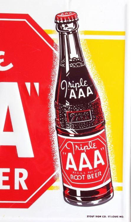 Original Triple AAA Root Beer Advertising Sign