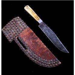 Crow Tacked Sheath & Trade Knife c. 19th Century