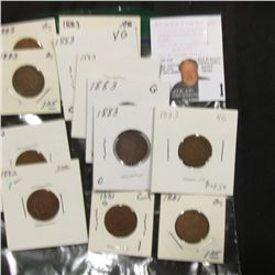 (12) Indian Cents G-VG  2-1881, 2-1882, 8-1883. Greysheet bid $30