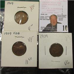 Trio of 1909 cents  1909 Indian VG, 1909 Lincoln XF, 1909 VDB VF  greysheet bid $21