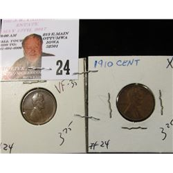 1909 Lincoln Cent VF-35 & 1910 Lincoln XF