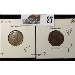 1915 D Lincoln Cent F & 1916-D Lincoln  VF