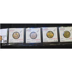 """(4) 1943 """"Tombac V"""" Canada Nickels, BU. Catalog $8 each."""