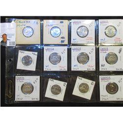 (2) 1944, (3) 1945, 46, (2) 47, 48, 59, 64, & 67 Canada Nickels in holders. All AU-BU.