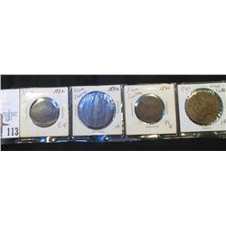 Nova Scotia: 1832 Half Penny, 1840 Half Penny, 1832 & 1840 Large Pennies.G-VG.