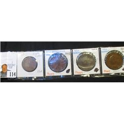 1843 Nova Scotia Half Penny token; 1843 & (2) 1854 New Brunswick One Penny Tokens. AG-VG.