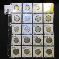 All Brilliant Uncirculated 1957-66 Thailand Coins in a plastic page. Includes 10, 25, 50 Satang, as