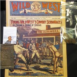 """Linotype Printing plate for """"Christmas Seals""""; 1918 """"Wild West Weekly"""" Comic/magazine; & (10) Fine-V"""