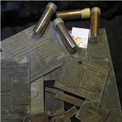 (12) Old linotype Advertising Printing plates; 1935 D, 37 S, 72 D, & 75 P Solid-date Rolls of Lincol