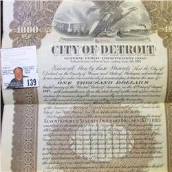 """1918 """"City of Detroit General Public Improvement $1000 Bond""""; fantastic Eagle vignette with train in"""