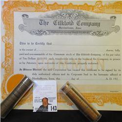 "Unissued 1910 era Stock Certificate ""The Cilkloid Company, Marshalltown, Iowa"", & 1960 P Gem BU Larg"