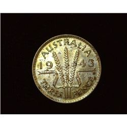 1943 D Australia Silver Three Pence, BU.