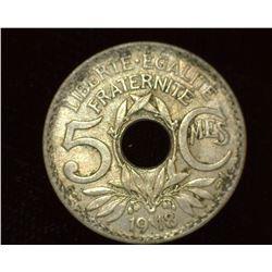 1918 World War I France Five Francs Coin, EF+