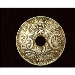 1918 World War I France Twenty-Five Centimes Coin, EF.