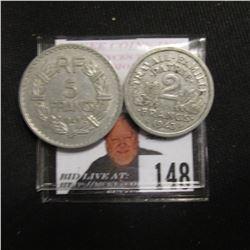 1943 World War II France Two Francs, VF; & 1949 France Five Francs EF.