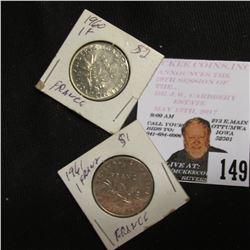 1960 & 61 France One Franc Coins, AU-BU.