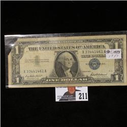 Series 1957 $1 Silver Certificate, missing upper left corner.