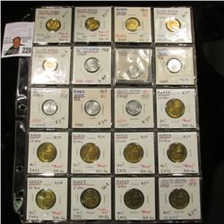 20-Pocket Plastic Page full of Korea or South Korea Coins, All are Gem BU. Includes One Won, 5 Won,