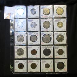 20-Pocket Plastic Page with British India, India, Iran, & Indonesian Coins. Dates back to 1835, many