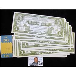 """$50 Bundle of Green Back $1.00. All Crisp Unc with wrapper. """"Greenbacks Inc. Indianapolis, Indiana""""."""