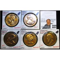 (5) U.S. Mint Issued Peace Medal and Presidential Medals, all BU, 34mm, bronze.