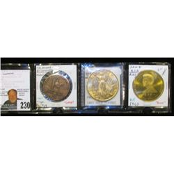 """U.S. Liberty"" Proof 14Kt Gold Plated, 39mm, BU; 1963 J.F.K./R.F.K. Bronze Medal, 39mm; & 1769-1969"