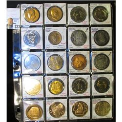 20-Pocket Plastic Page with (20) various medals of both U.S. Mint and Private Mint production. Inclu