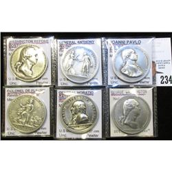 """(6) Different """"America's First Mint Medals"""" struck in high relief Pewter, Gem BU and all attributed."""