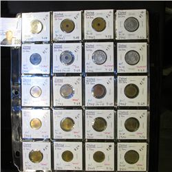 20-Pocket Plastic Page with (20) Japanese Coins, includes One Yen, 10 Sen, & 50 Sen coins. Many BU a
