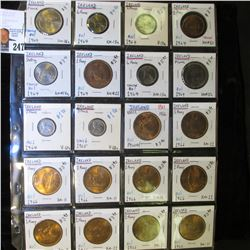 20-Pocket Plastic Page with (20) Ireland Coins including 1/2 Penny, One Penny, 3 Pence, 6 Pence, Flo